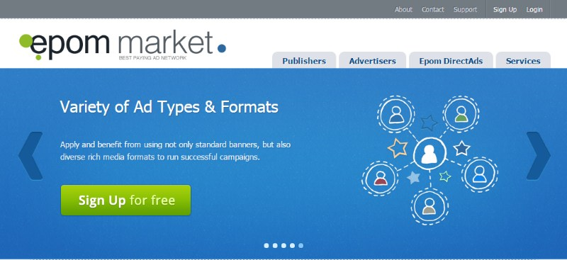 Epom Market Is A Cross Platform Ad Network Associated With Leading Advertisers And Publishers In Over 40 Countries Across 15 Verticals