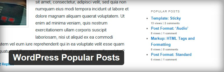 WordPress Popular Posts is a highly customizable widget that displays the most popular posts on your blog. It's main features include: