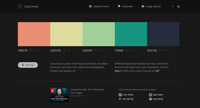 Colormind: Generate color palettes