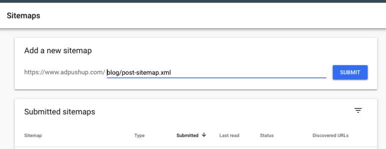 Adding a sitemap
