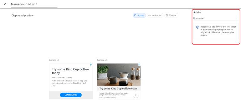 AdSense responsive ad format