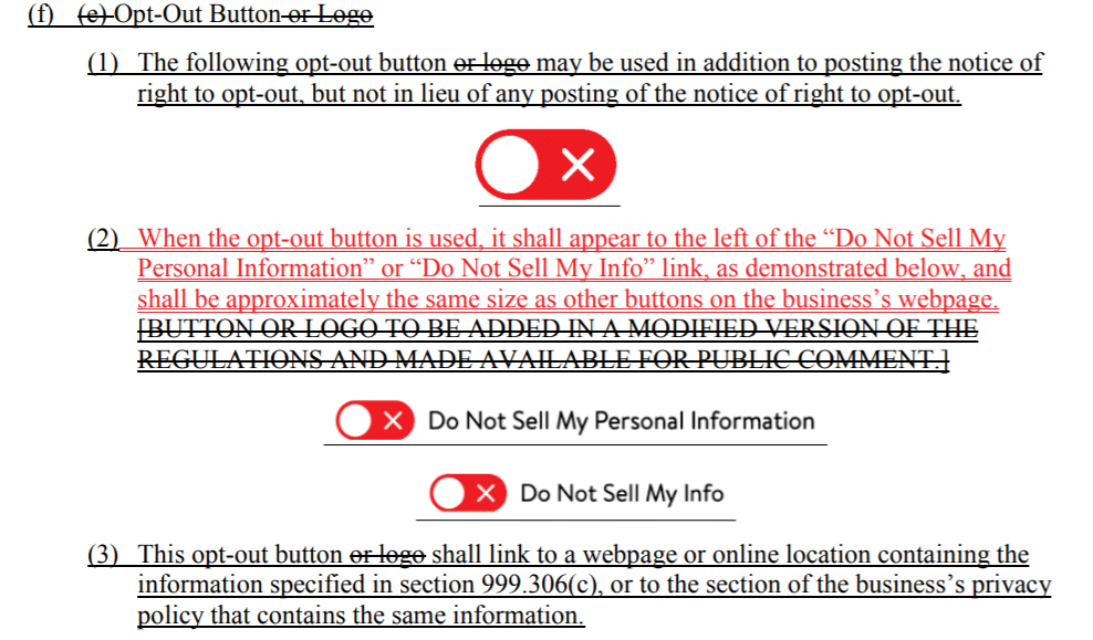 Opt-out button in CCPA regulations