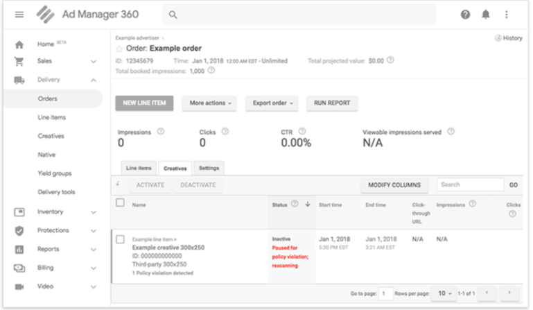 Google Ad Manager screenshot of privacy violations