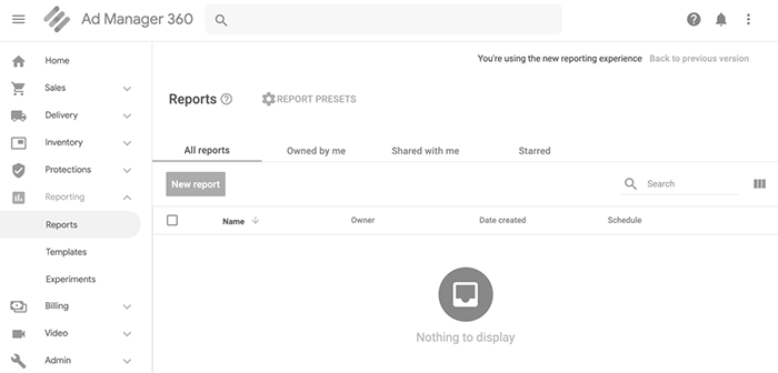 Google Ad Manager 360 dashboard