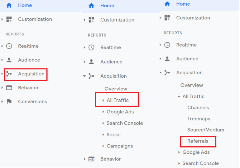 How to find referral traffic report in Google Analytics