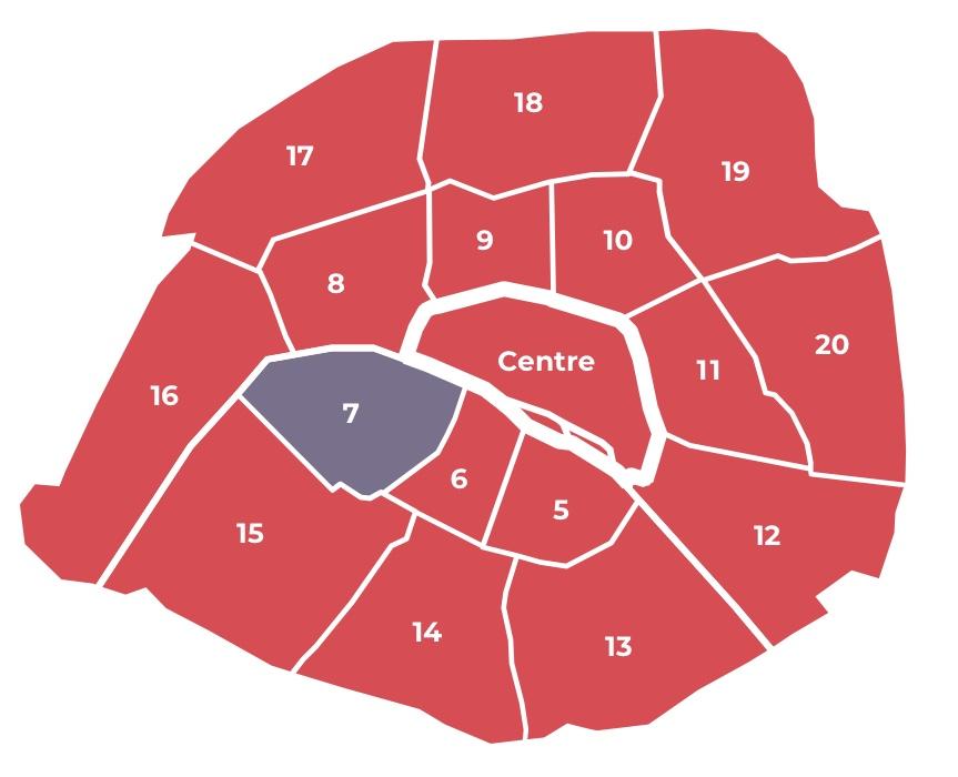 La carte des secteurs électoraux à Paris
