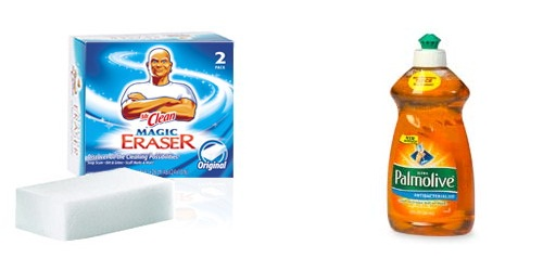 Remove soap scum with eraser and dishsoap