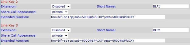 SPA942 settings for blf