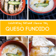 The queso fundido is a classic Mexican appetizer made with real melted cheese cooked inside a clay pot on the grill. Perfect for national cheese day.
