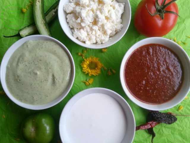 Sauces and garnishes for the Chicken Flautas Tricolor  #ABRecipes