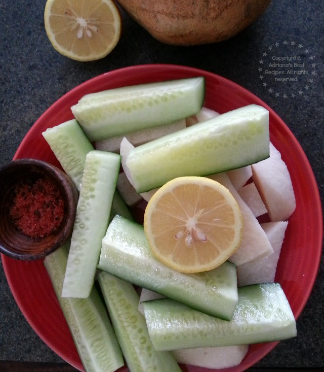 Jicama paired with cucumbers and chamoy #ABRecipes #BacktoSchool