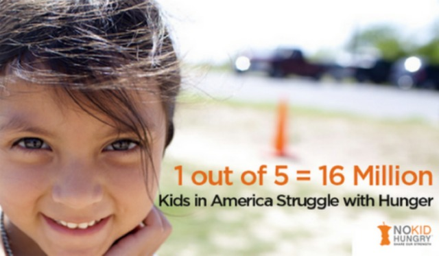 One of five children in America struggle with hunger #NoKidHungry