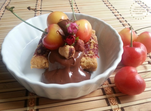 Fiber One Streusel Dessert Hack with Cherries and Chocolate Hazelnut Spread #FiberOne #PlatefullCoOp #ad