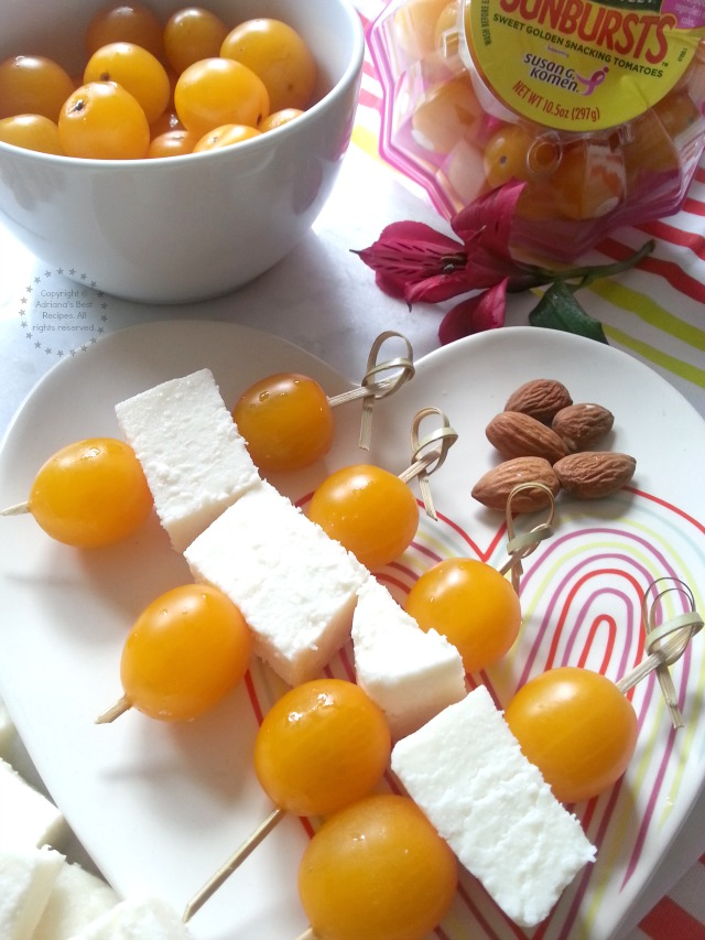 SunBurst Yellow Cherry Tomatoes with Queso Fresco for Snacking #NatureSweet #ad