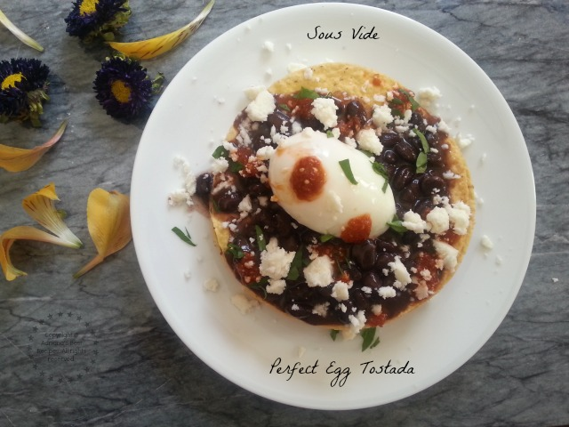 Perfect Egg Tostadas Cooked on Sous Vide #SousVideSupreme #IFBC #ad