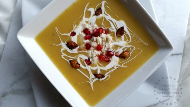 Coconut Acorn Squash Soup Garnished with Pomegranate and Pepitas #NinjaKitchen #ad