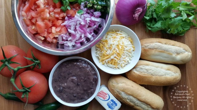 Ingredients for Preparing Molletes for the Mexican American Breakfast One of my favorite meals is my Mexican American Breakfast #AmericasTea #ad