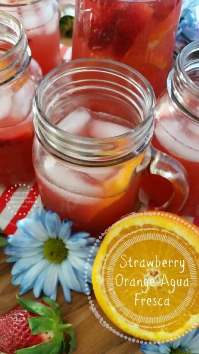 Refreshing Strawberry Orange Agua Fresca Recipe  #ComidaKraft #ad