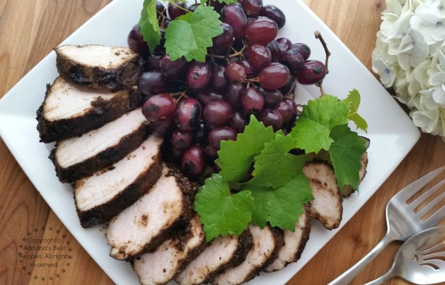 Grilled Pork Loin with NESCAFÉ CLÁSICO and garnished with grilled grapes #FlavorYourSummer #ad