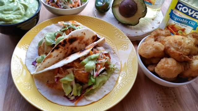 Beer Battered Cauliflower Tacos and Soybean Oil #SoyParaSoy #ad