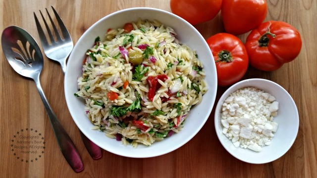 Fresh Greek Style Orzo Salad #ABRecipes