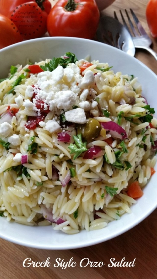 I invite you to try this easy recipe for Greek Style Orzo Salad  #ABRecipes