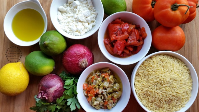 Ingredients for making Greek Style Orzo Salad  #ABRecipes