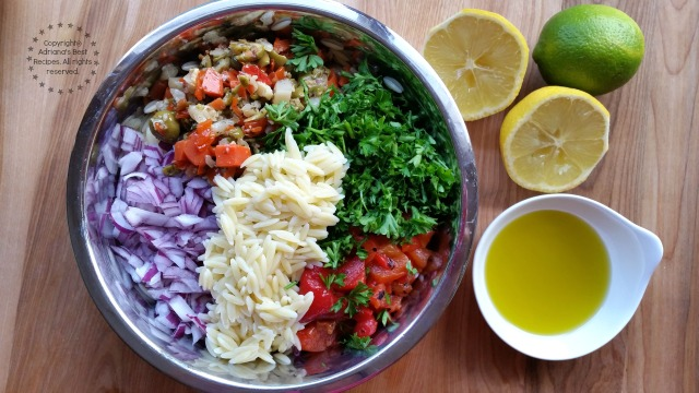 Mixing the Greek Style Orzo Salad #ABRecipes