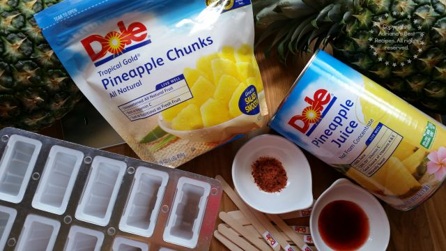 Ingredients for making the Pineapple Chamoy Ice Pops #DOLEcioso #ad