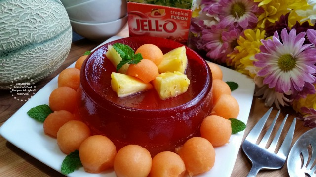 Tropical Melon Jello Dessert Recipe  #ComidaKraft #ad