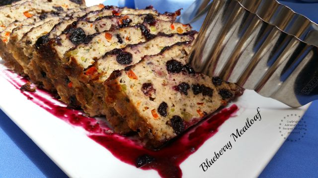 Blueberry Meatloaf made with turkey and dried blueberries plus other spices. Beautiful bite!  #LittleChanges