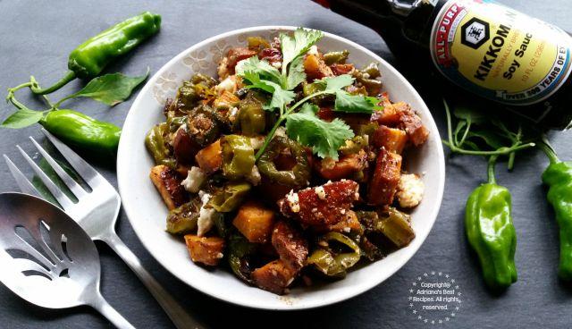 Recipe for Roasted Yams and Shishito Peppers Hash  #KikkomanSaborLBC #ad
