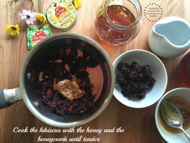 Cook the hibiscus with the honey and the honeycomb until tender #HoneyForHolidays