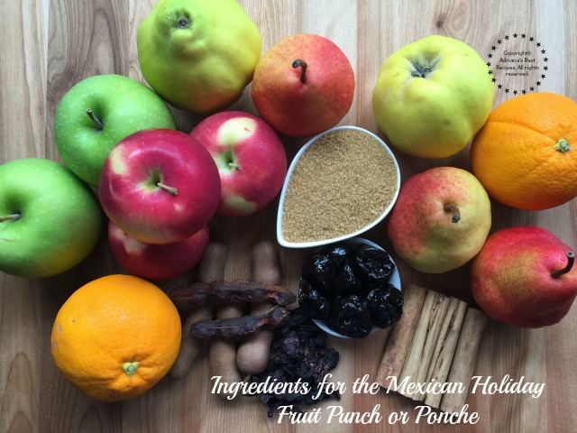 Ingredients for the Mexican Holiday Fruit Punch or Ponche