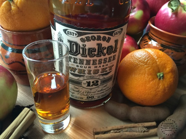 The George Dickel #12 whiskey is perfect addition to this Mexican Holiday Fruit Punch or Ponche