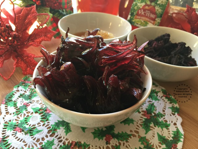 This Hibiscus Flowers in Honeycomb Syrup are great for handmade gourmet gifts, for appetizers and to add to cocktails #HoneyForHolidays