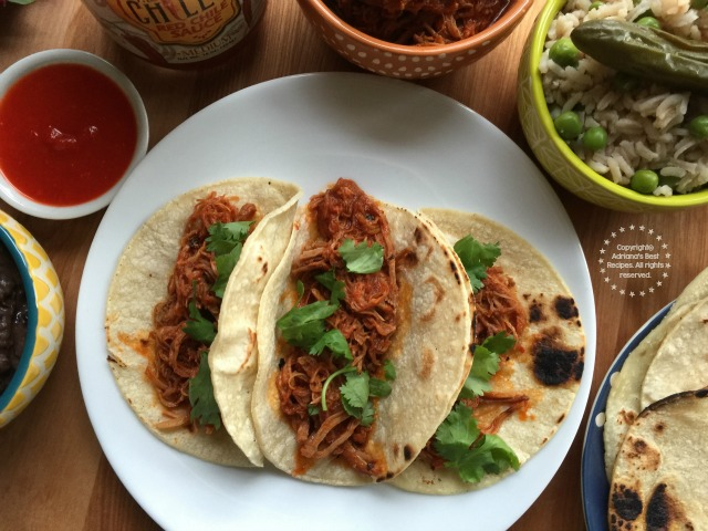 The shredded pork on red chile sauce can be cooked on the slow cooker but for this I used my pressure cooker