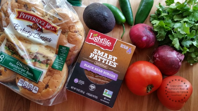 Ingredients for the Black Bean Burgers with Pico de Gallo and Avocado