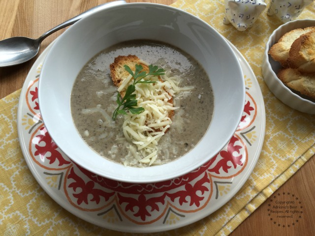 Mushroom Cream Soup served with cheese and crostini