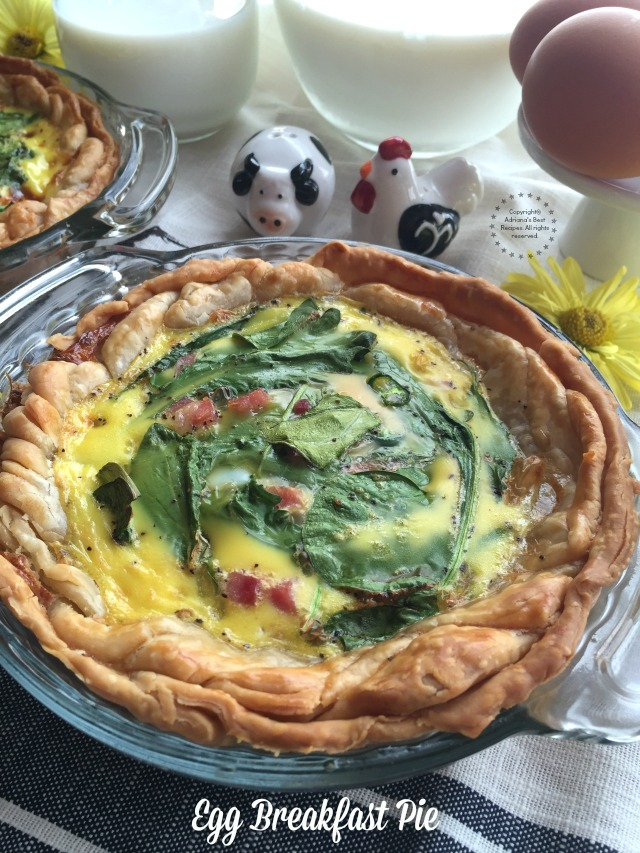 Egg breakfast pie with fresh farm eggs, ham, serrano chile slices, kale and spinach leaves, whole milk and ready to use pie crust