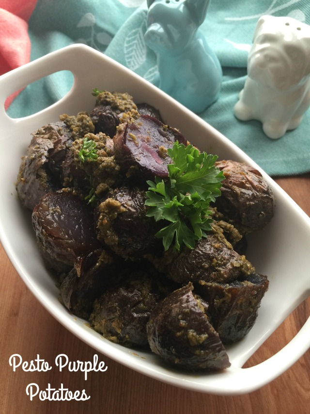 Pesto Purple Potatoes with ready to use basil pesto and few other ingredients