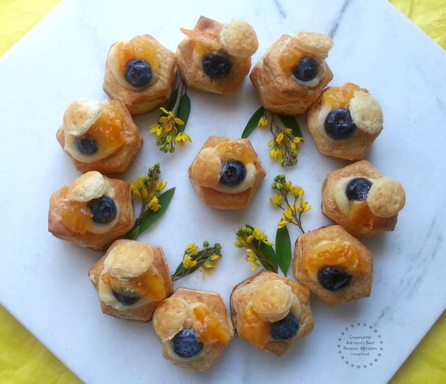 Vanilla Blueberry Vol Au Vents with a dash of orange peel preserves