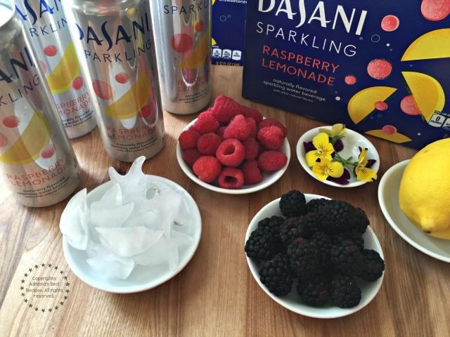 Ingredients for making the Berry Lemonade Sparkler