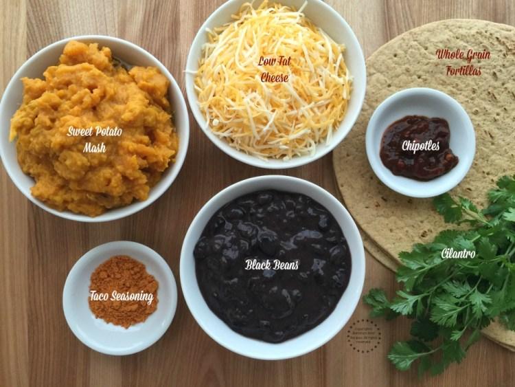Ingredients for the Sweet Potato Black Bean Quesadillas