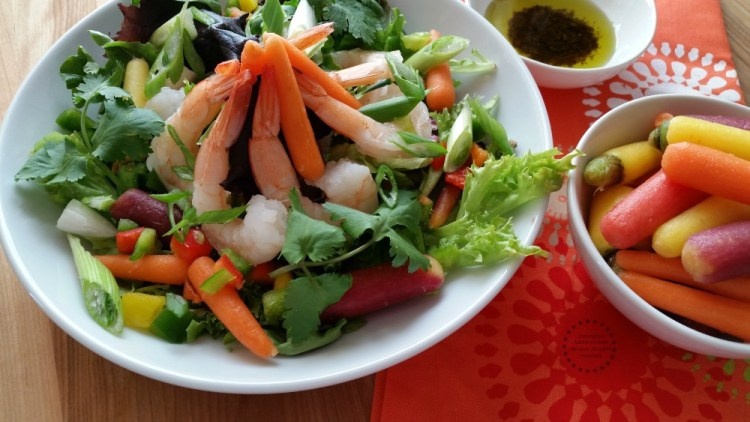 The rainbow carrot shrimp salad can also be served on a special occasion