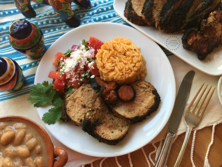 For the Grilled Garlic Peppercorn Pork Loin dinner I made my special grilled watermelon salsa and mayocoba beans