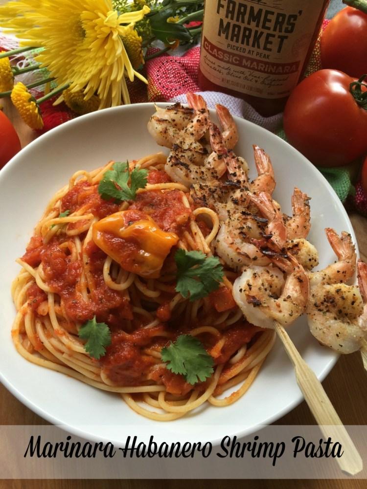 Marinara Habanero Shrimp Pasta made with fresh ingredients and Prego Farmers Market Classic Marinara