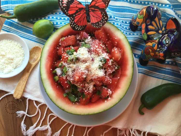 You can use half of a watermelon as a serving bowl after carving out the crunchy watery flesh