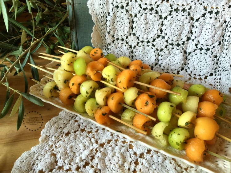 Fresh Melon Skewers with Mint