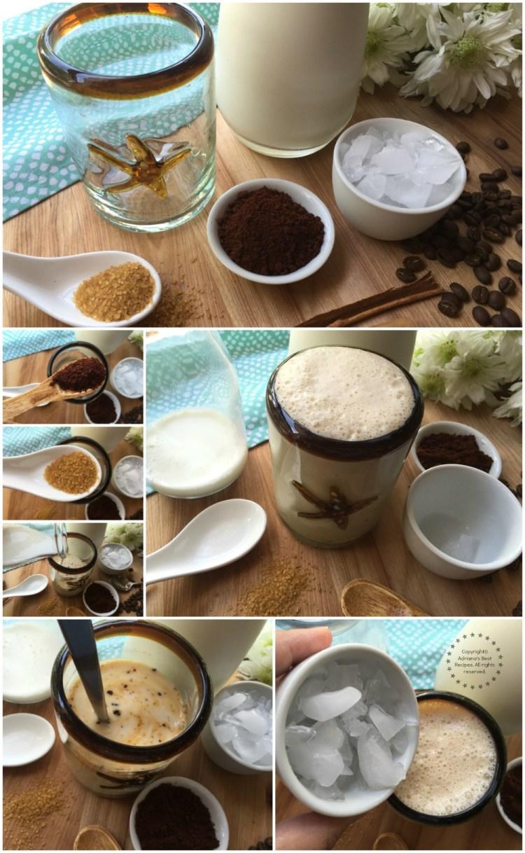 Haciendo el café frío con leche y canela